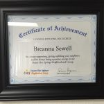 "2016, Breanna Sewell received ""Person of the Month"" from the Desert Hot Springs Neighborhood Group for always supporting, giving, uplifting her neighbors and for always being a positive energy in the Desert Hot Springs Neighborhood Group."